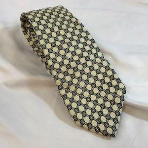 Christian Dior Cream With Rings Design Silk Tie